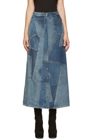 Saint Laurent - Blue Denim Patchwork Skirt