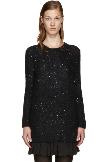 Saint Laurent - Black Calf-Hair Sequin Sweater