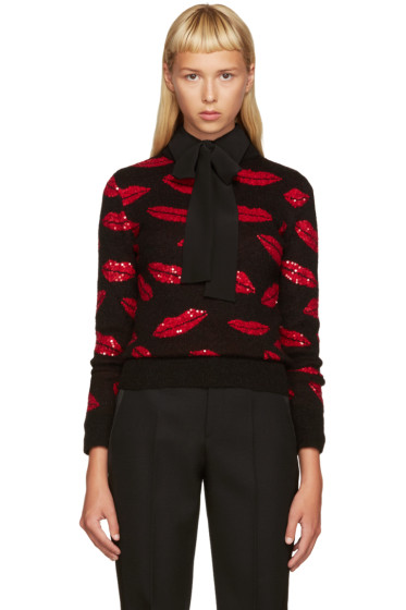 Saint Laurent - Black & Red Lips Sweater
