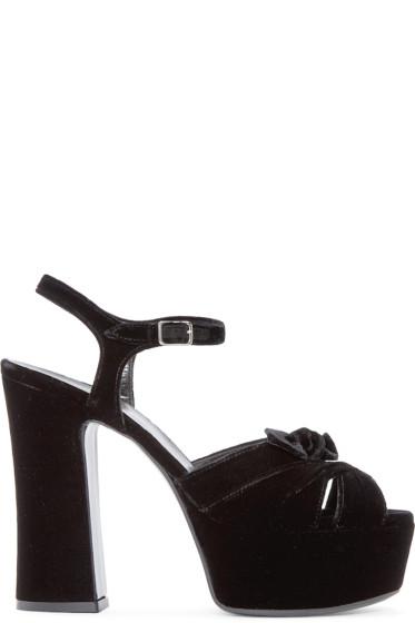 Saint Laurent - Black Velvet Candy Sandals