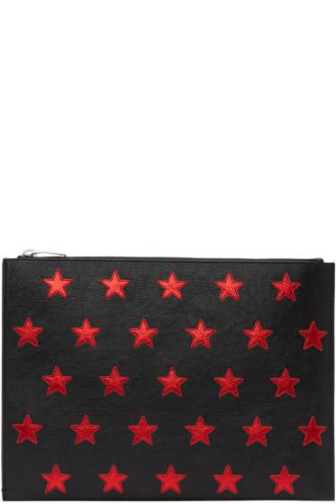 Saint Laurent - Black & Red Stars Document Holder