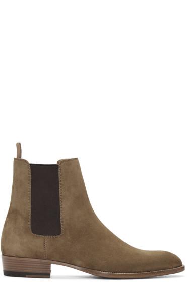 Saint Laurent - Tan Suede Hedi Chelsea Boots