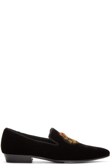 Saint Laurent - Black Velvet Devon 25 Loafers