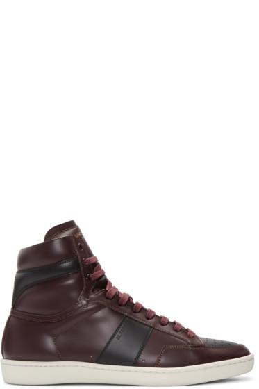 Saint Laurent - Burgundy Court Classic SL/10H High-Top Sneakers