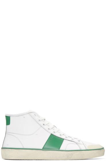 Saint Laurent - White Distressed SL/10 Court Classic Sneakers