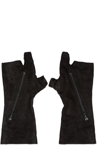 Julius - Black Goatskin Fingerless Gloves