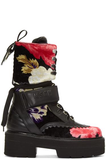 MSGM - Multicolor Floral Print Platform Boots
