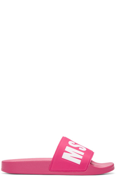 MSGM - Pink Logo Slide Sandals
