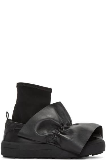 MSGM - Black Ruched Trim Slip-On Sneakers