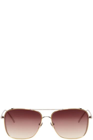 Linda Farrow Luxe - Gold & Silver Rectangular Sunglasses