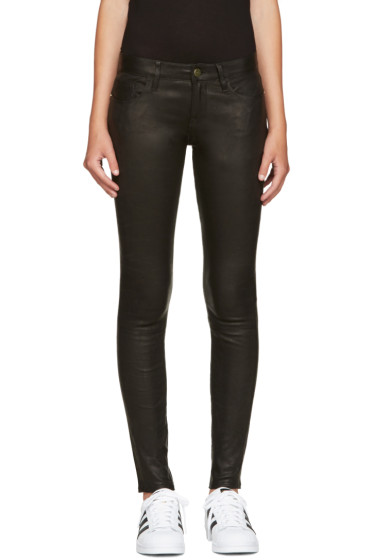 Frame Denim - Black Leather Le Skinny de Jeanne Pants