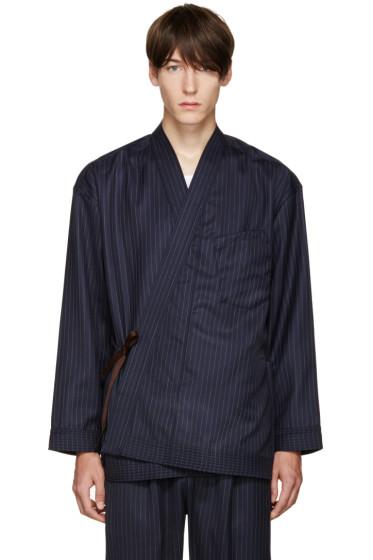Umit Benan - Navy Pinstripe Kimono Jacket