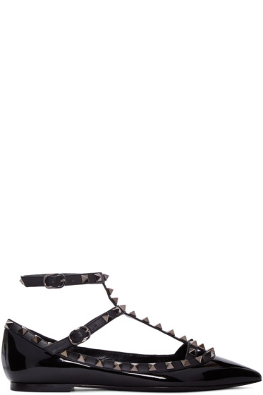 Valentino - Black Patent Leather Rockstud Cage Flats