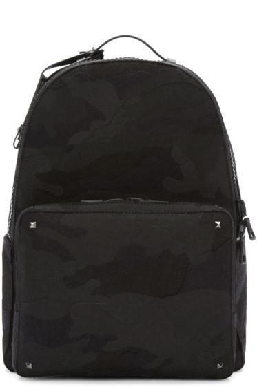 Valentino - Black Camo Rockstud Backpack
