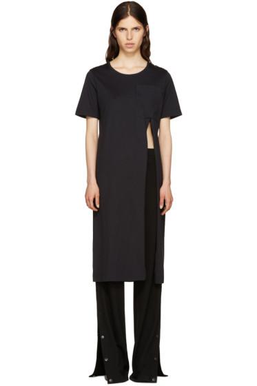 Facetasm - Black Slit T-Shirt Dress