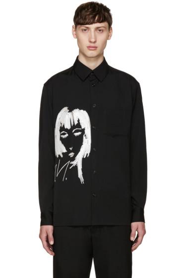 Yohji Yamamoto - Black Wool Embroidered Shirt