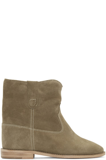 Isabel Marant - Taupe Suede Crisi Boots
