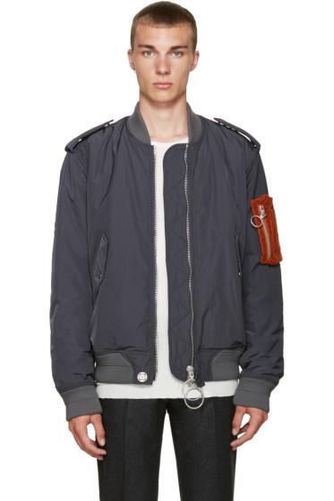 Off-White - Grey Nylon Pocket Bomber Jacket