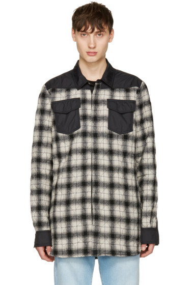 Off-White - Black & White Quilted Flannel Shirt