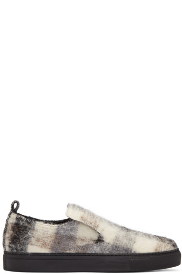 AD Ann Demeulemeester - Black Mohair Check Slip-On Sneakers