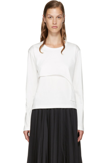 Noir Kei Ninomiya - White Asymmetric Layered T-Shirt