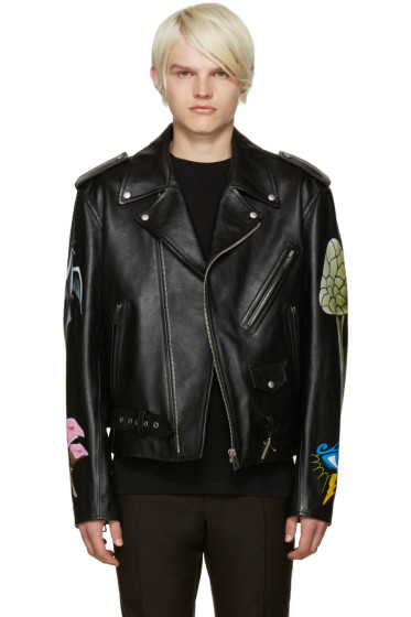Loewe - Black Hand Painted Leather Jacket