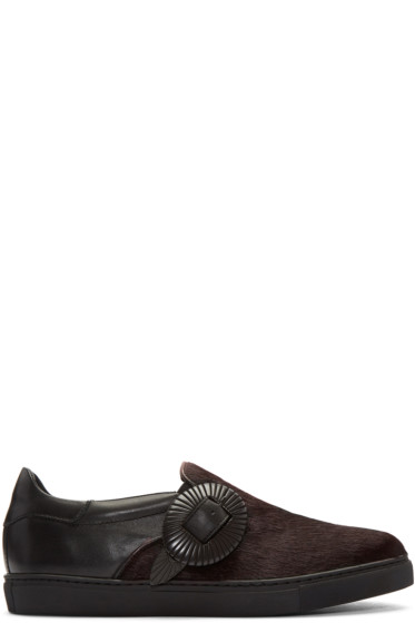 Toga Virilis - Black Calf-Hair Western Slip-On Sneakers