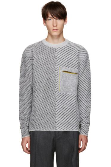 Fendi - Grey Diagonal Knit Sweater