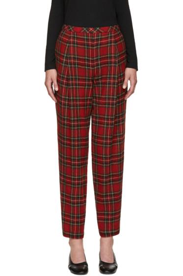 Rosetta Getty - Red Wool Tartan Trousers