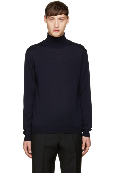 Éditions M.R  - Navy Merino Wool Turtleneck