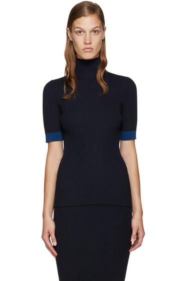 Victoria Beckham - Navy Mock Neck Pullover