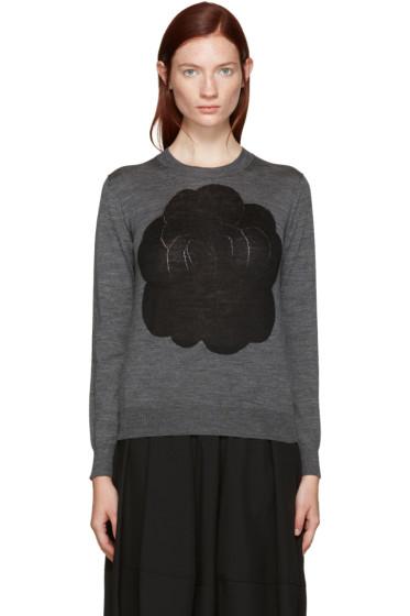 Tricot Comme des Garçons - Grey Intarsia Flower Pullover