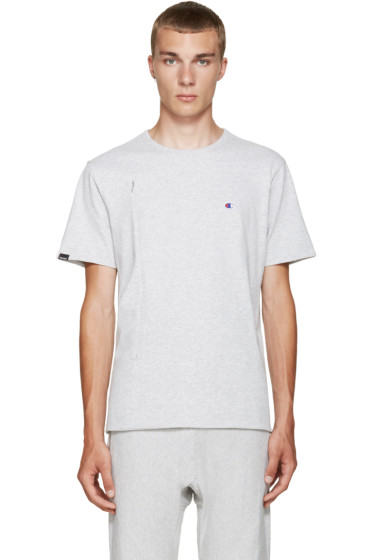 Champion x Beams - Grey Jersey Zip T-Shirt