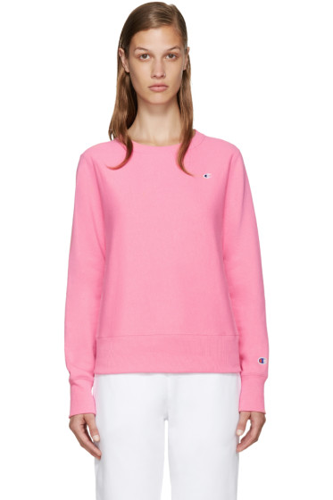 Champion Reverse Weave - Pink Small Logo Pullover