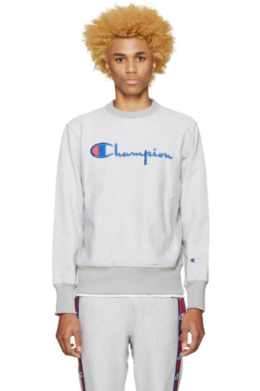 Champion Reverse Weave - Grey Speckled Logo Pullover