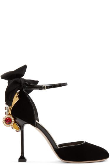 Miu Miu - Black Embellished Velvet Heels