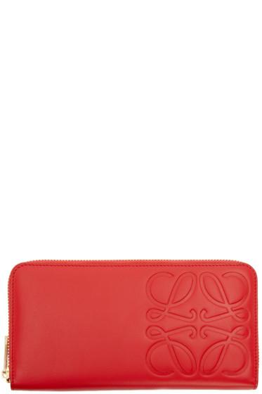 Loewe - Red Embossed Logo Wallet