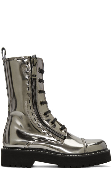 Dolce & Gabbana - Silver Leather Combat Boots