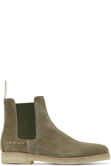 Common Projects - Green Suede Chelsea Boots