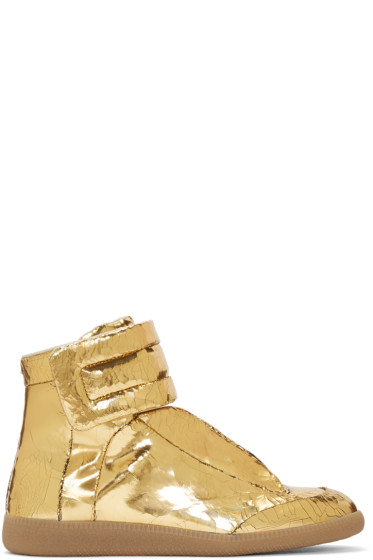 Maison Margiela - Gold Cracked Future High-Top Sneakers