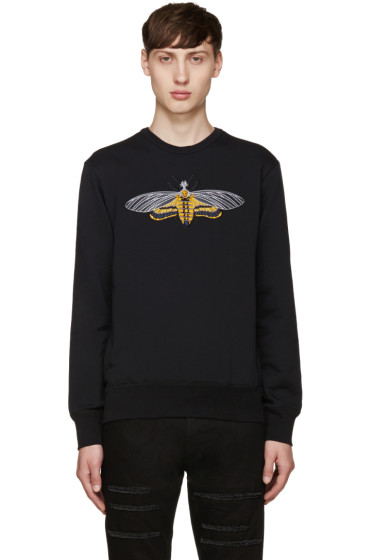 Alexander McQueen - Black Embroidered Moth Pullover