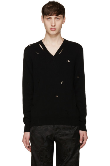 Alexander McQueen - Black Distressed Sweater