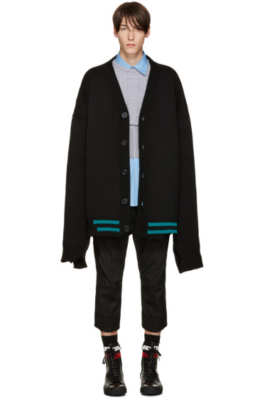 Raf Simons - Black Ovesized Destroyed Cardigan