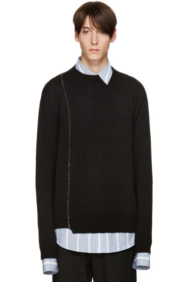 Raf Simons - Black Wool Stitched Sweater