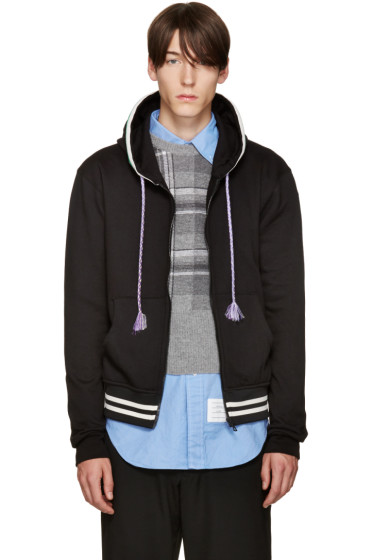 Raf Simons - Black Striped Zip Hoodie