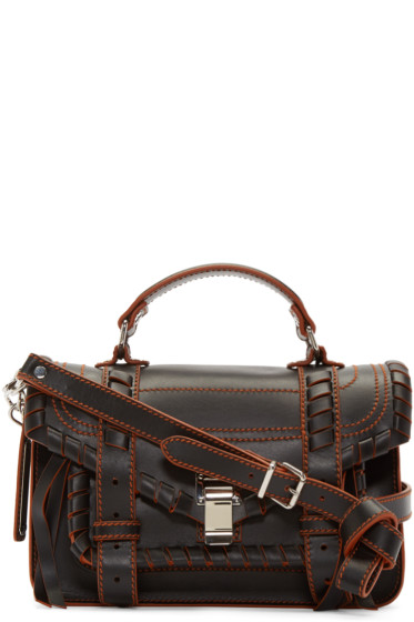 Proenza Schouler - Black & Orange Whipstitched Tiny PS1 Satchel