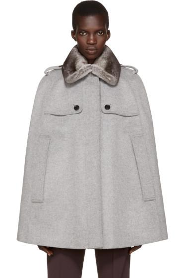 Burberry - Grey Fur Collar Wolesley Cape