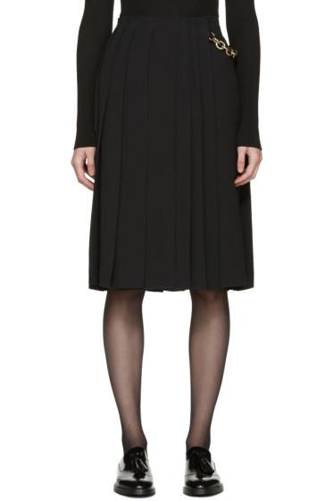 Burberry - Black Silk Pleated Wrap Skirt