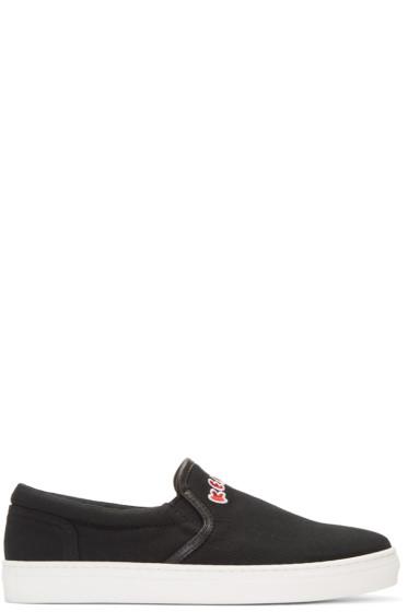 Kenzo - Black Canvas Slip-On Sneakers