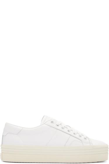 Saint Laurent - White Platform Court Classic Sneakers
